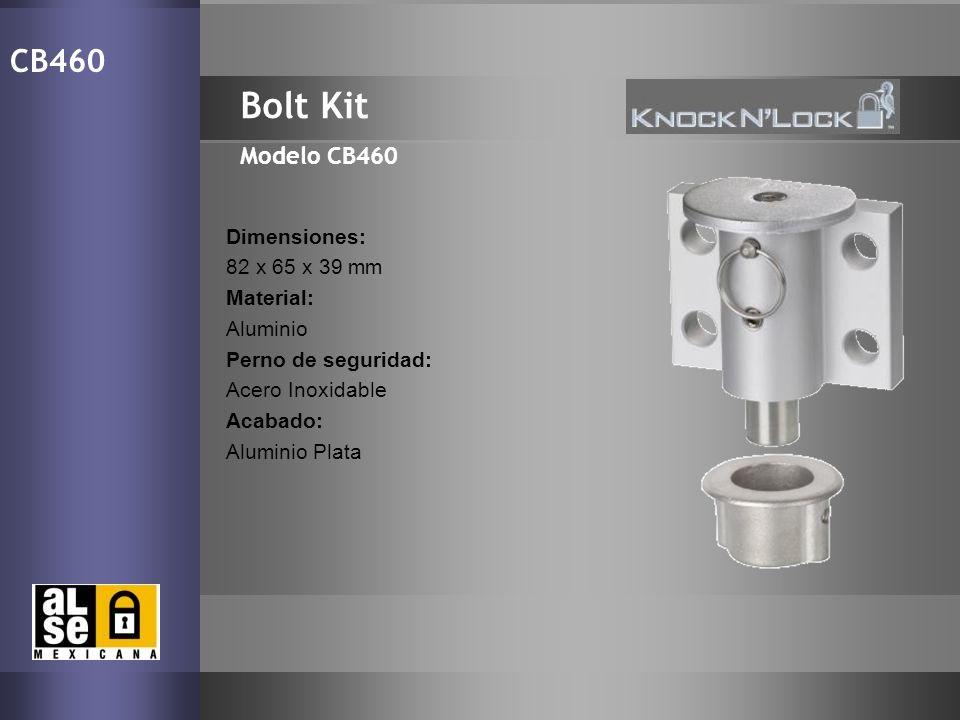16 Bolt Kit Modelo CB460 CB460 Dimensiones: 82 x 65 x 39 mm Material: Aluminio Perno de seguridad: Acero Inoxidable Acabado: Aluminio Plata