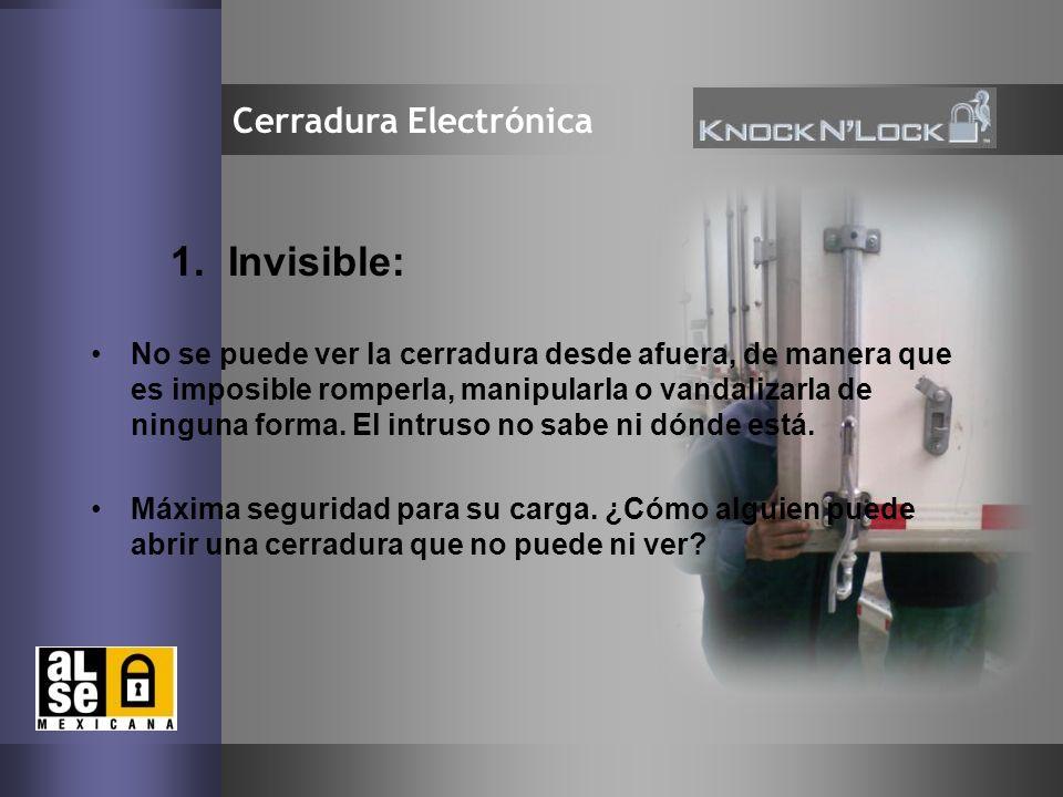5 Cerradura Electrónica 1. Invisible: No se puede ver la cerradura desde afuera, de manera que es imposible romperla, manipularla o vandalizarla de ni