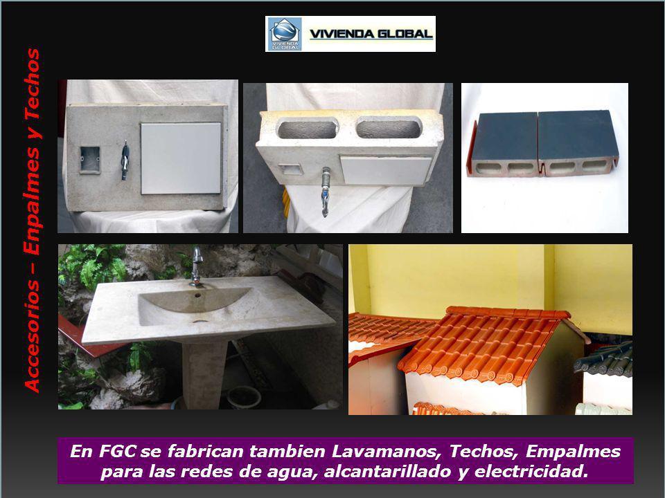 En FGC se fabrican tambien Lavamanos, Techos, Empalmes para las redes de agua, alcantarillado y electricidad. Accesorios – Enpalmes y Techos