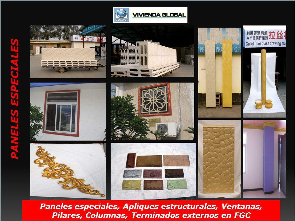 Paneles especiales, Apliques estructurales, Ventanas, Pilares, Columnas, Terminados externos en FGC PANELES ESPECIALES