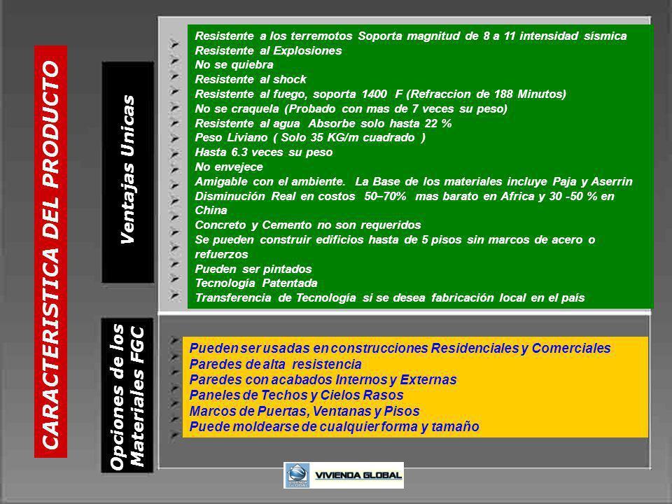 CARACTERISTICA DEL PRODUCTO Opciones de los Materiales FGC Ventajas Unicas Resistente a los terremotos Soporta magnitud de 8 a 11 intensidad sísmica R