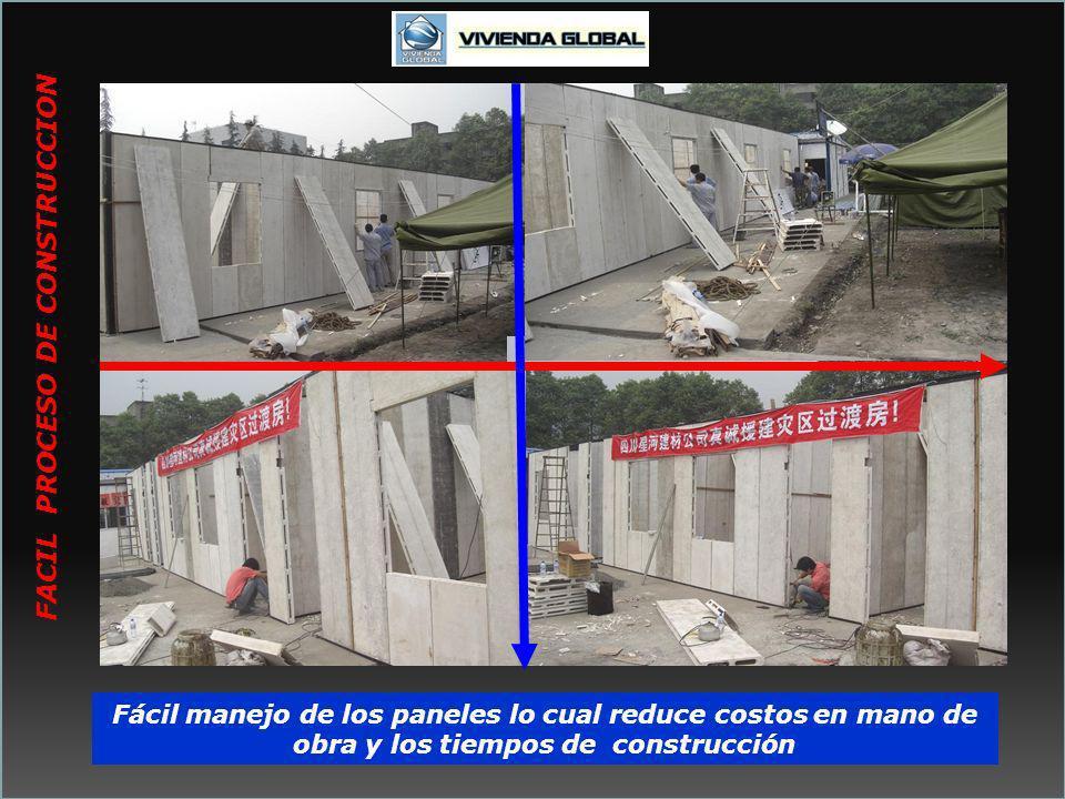 Fácil manejo de los paneles lo cual reduce costos en mano de obra y los tiempos de construcción FACIL PROCESO DE CONSTRUCCION