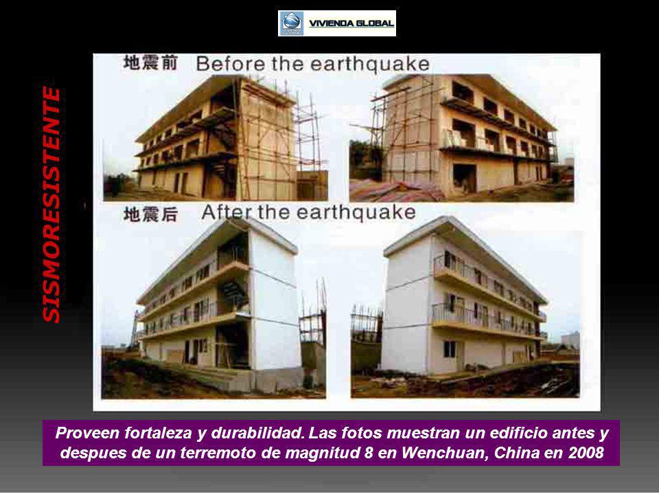 SISMORESISTENTE Proveen fortaleza y durabilidad. Las fotos muestran un edificio antes y despues de un terremoto de magnitud 8 en Wenchuan, China en 20