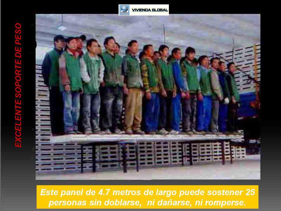 EXCELENTE SOPORTE DE PESO Este panel de 4.7 metros de largo puede sostener 25 personas sin doblarse, ni dañarse, ni romperse.