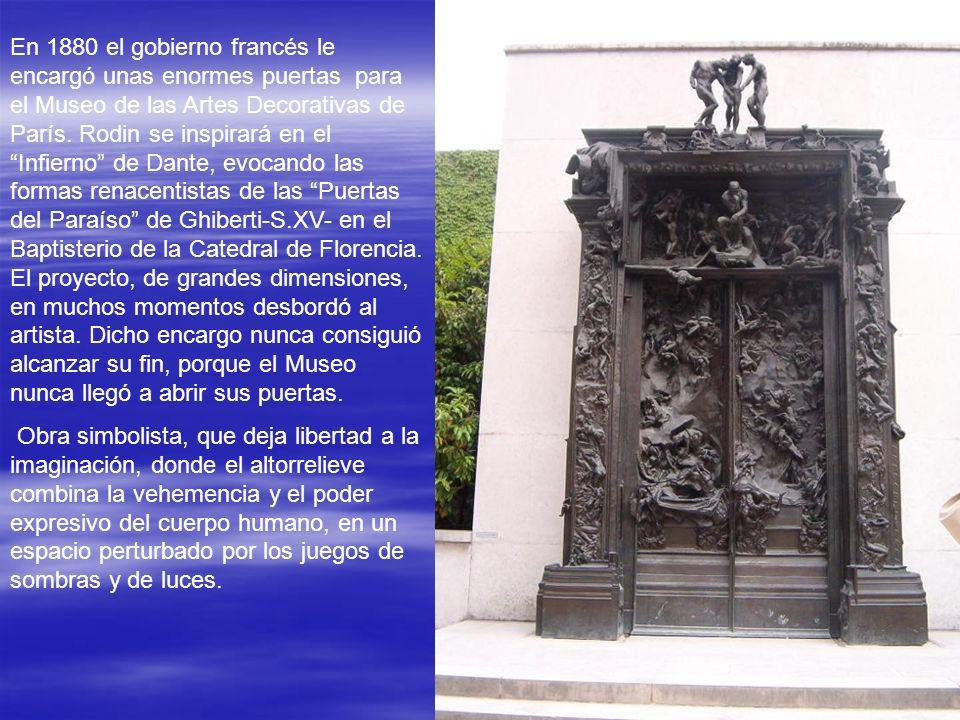 En 1880 el gobierno francés le encargó unas enormes puertas para el Museo de las Artes Decorativas de París.