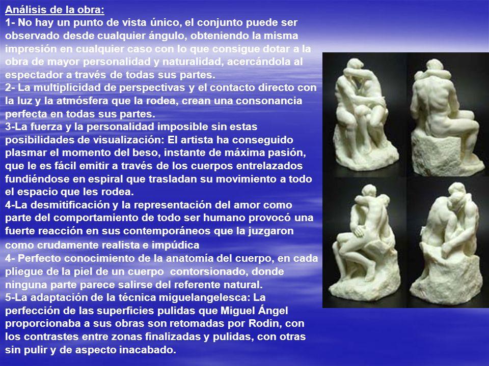 El Beso, Entre los fragmentos que forman el conjunto iconográfico se encuentra El Beso,en mármol, que muestra una pareja besándose mientras sus cuerpo