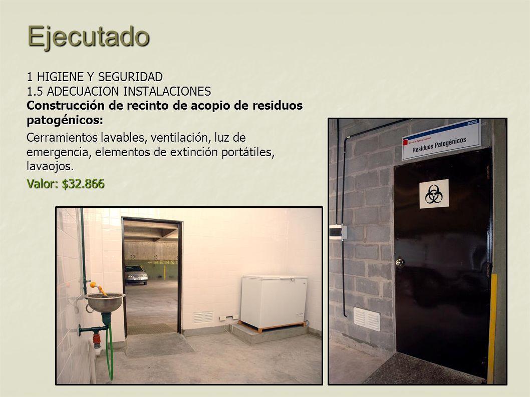 Ejecutado 1 HIGIENE Y SEGURIDAD 1.5 ADECUACION INSTALACIONES Construcción de recinto de acopio de residuos patogénicos: Cerramientos lavables, ventila