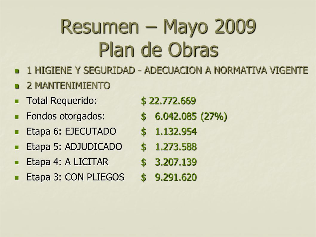 Resumen – Mayo 2009 Plan de Obras 1 HIGIENE Y SEGURIDAD - ADECUACION A NORMATIVA VIGENTE 1 HIGIENE Y SEGURIDAD - ADECUACION A NORMATIVA VIGENTE 2 MANT