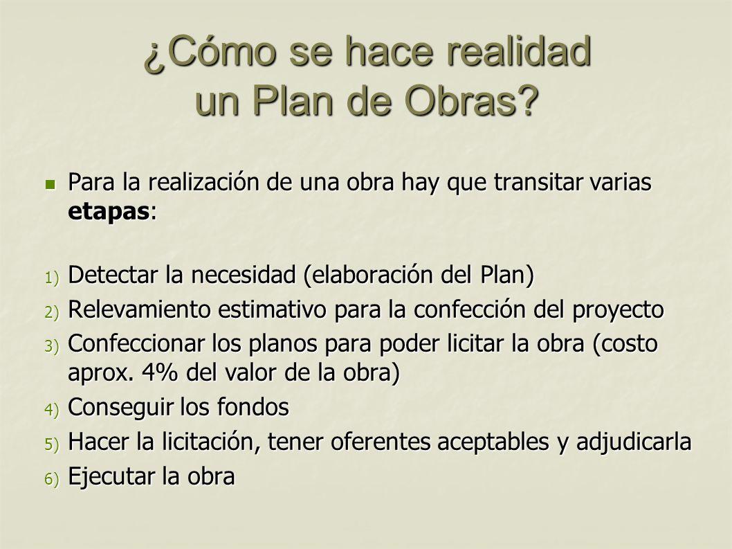 ¿Cómo se hace realidad un Plan de Obras? Para la realización de una obra hay que transitar varias etapas: Para la realización de una obra hay que tran