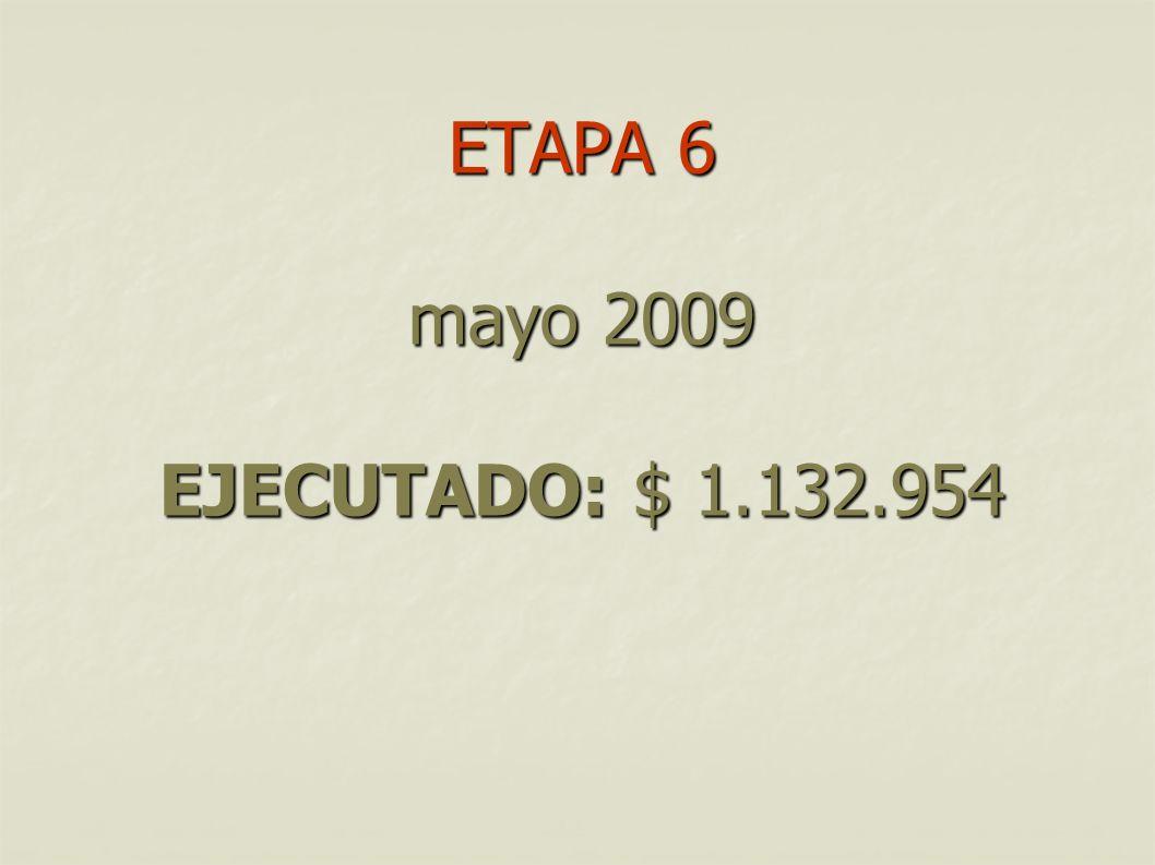 ETAPA 6 mayo 2009 EJECUTADO: $ 1.132.954