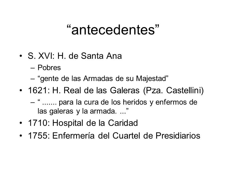 antecedentes S.XVI: H. de Santa Ana –Pobres –gente de las Armadas de su Majestad 1621: H.