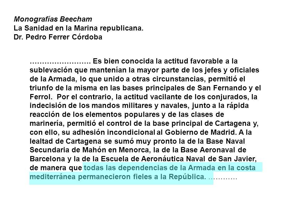 Monografías Beecham La Sanidad en la Marina republicana.