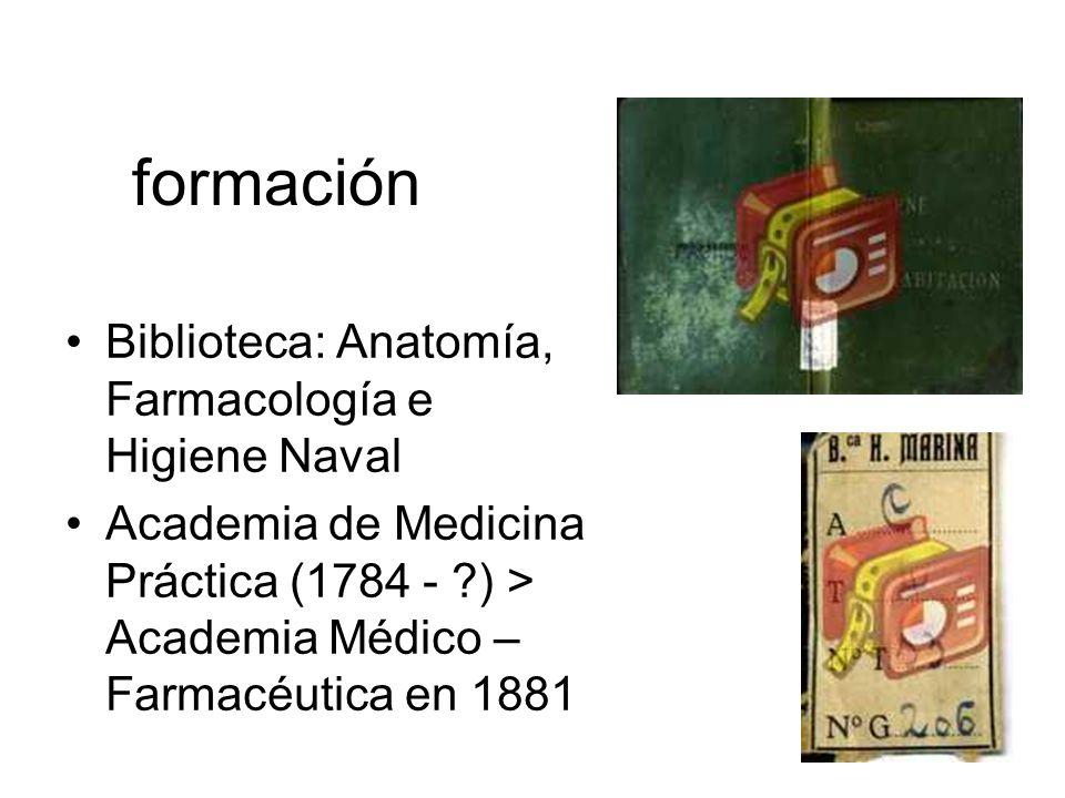 formación Biblioteca: Anatomía, Farmacología e Higiene Naval Academia de Medicina Práctica (1784 - ?) > Academia Médico – Farmacéutica en 1881