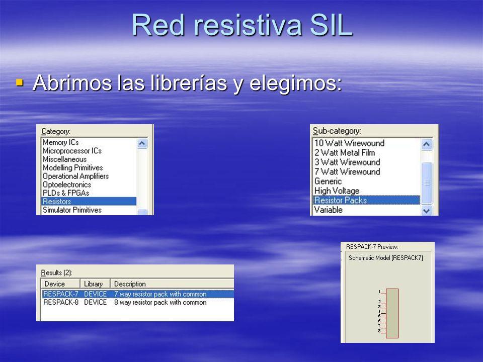Red resistiva SIL Abrimos las librerías y elegimos: Abrimos las librerías y elegimos: