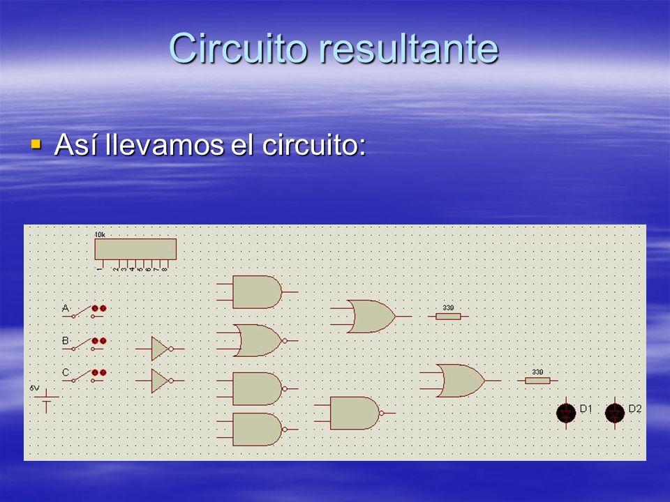 Circuito resultante Así llevamos el circuito: Así llevamos el circuito: