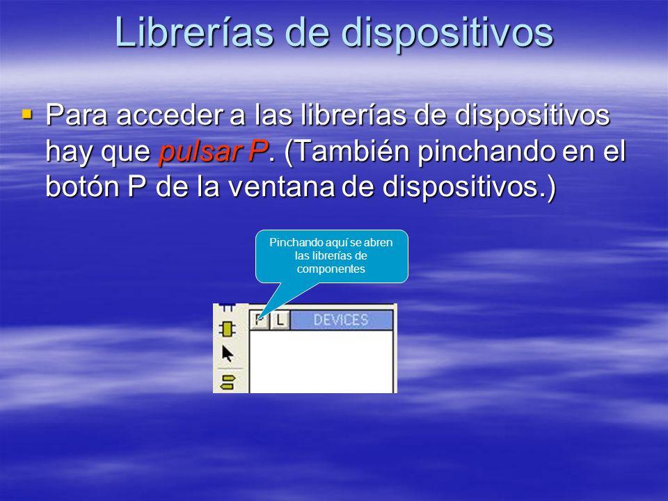 Librerías de dispositivos Para acceder a las librerías de dispositivos hay que pulsar P. (También pinchando en el botón P de la ventana de dispositivo