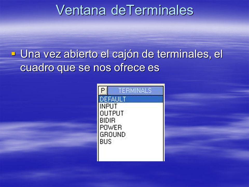 Ventana deTerminales Una vez abierto el cajón de terminales, el cuadro que se nos ofrece es Una vez abierto el cajón de terminales, el cuadro que se n