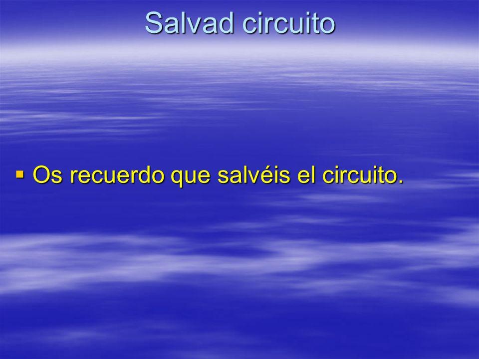 Salvad circuito Os recuerdo que salvéis el circuito. Os recuerdo que salvéis el circuito.