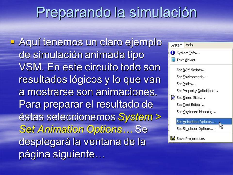 Preparando la simulación Aquí tenemos un claro ejemplo de simulación animada tipo VSM. En este circuito todo son resultados lógicos y lo que van a mos