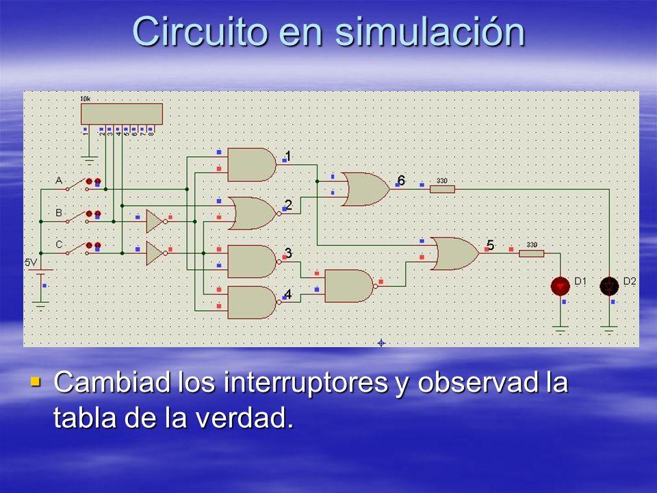 Circuito en simulación Cambiad los interruptores y observad la tabla de la verdad. Cambiad los interruptores y observad la tabla de la verdad.