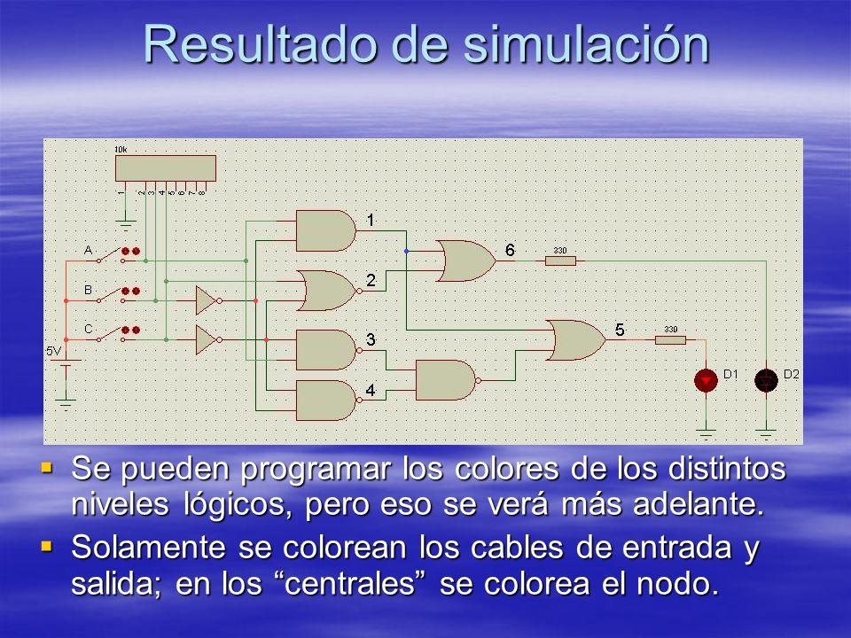 Resultado de simulación Se pueden programar los colores de los distintos niveles lógicos, pero eso se verá más adelante. Se pueden programar los color
