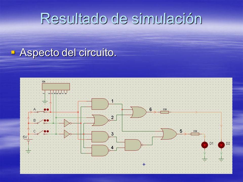 Resultado de simulación Aspecto del circuito. Aspecto del circuito.