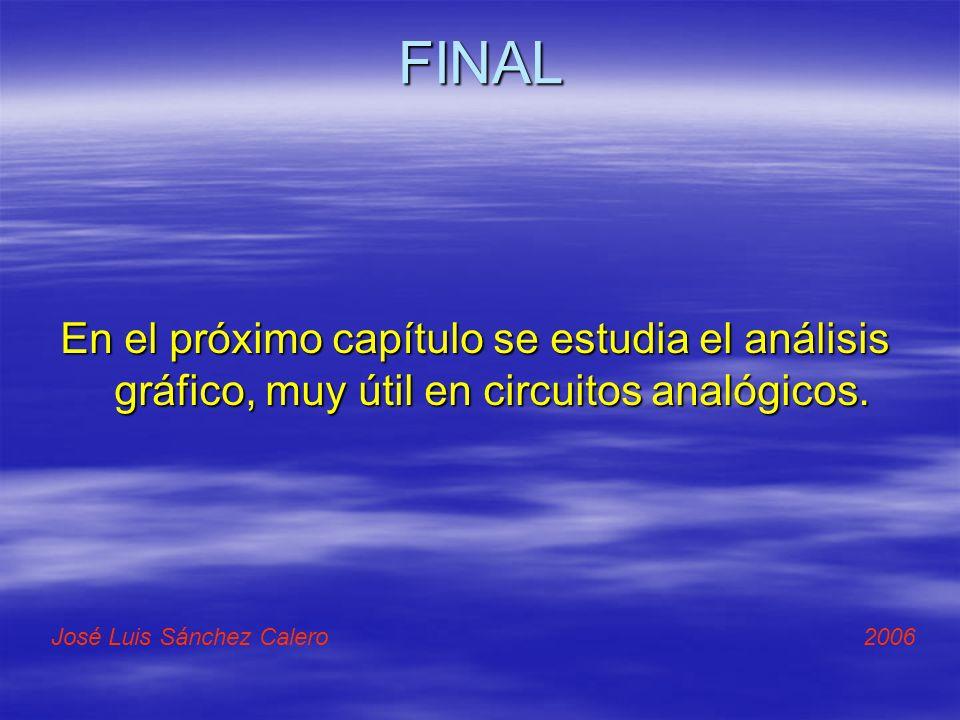 FINAL En el próximo capítulo se estudia el análisis gráfico, muy útil en circuitos analógicos. José Luis Sánchez Calero 2006