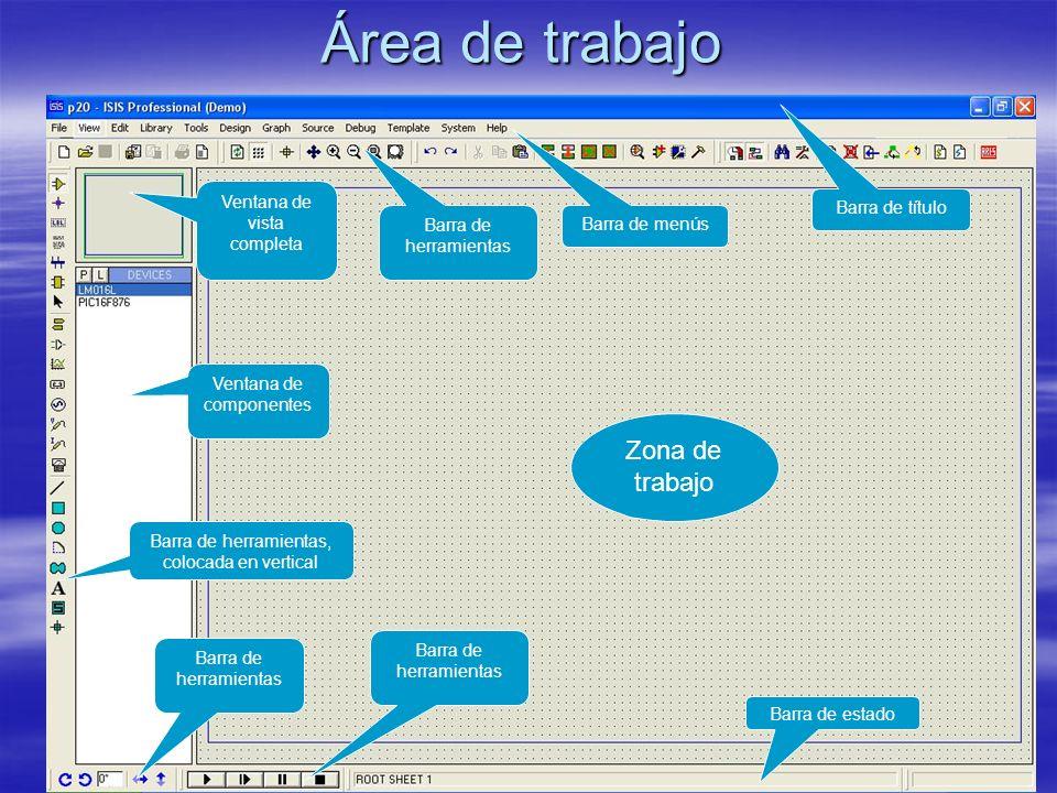 Barra de título Situada en la parte superior de la pantalla, en ella se muestra el icono del programa, el nombre del fichero abierto (p20), la leyenda ISIS Professional (Demo) y, en ocasiones, mensajes de que el programa ha entrado en un modo particular de funcionamiento (por ejemplo, Animating, cuando se simula).