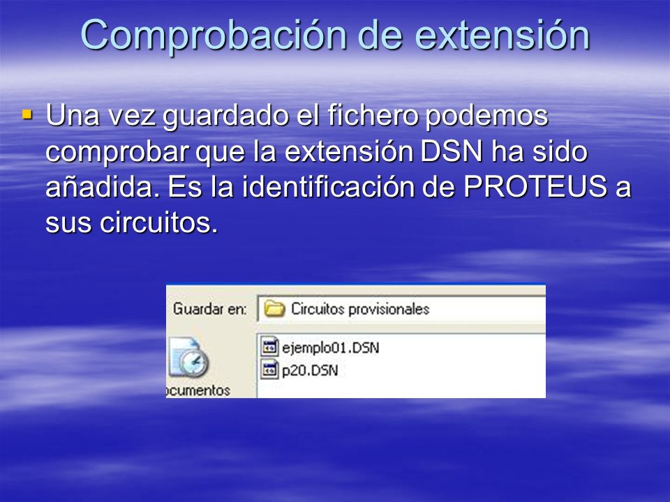 Comprobación de extensión Una vez guardado el fichero podemos comprobar que la extensión DSN ha sido añadida. Es la identificación de PROTEUS a sus ci