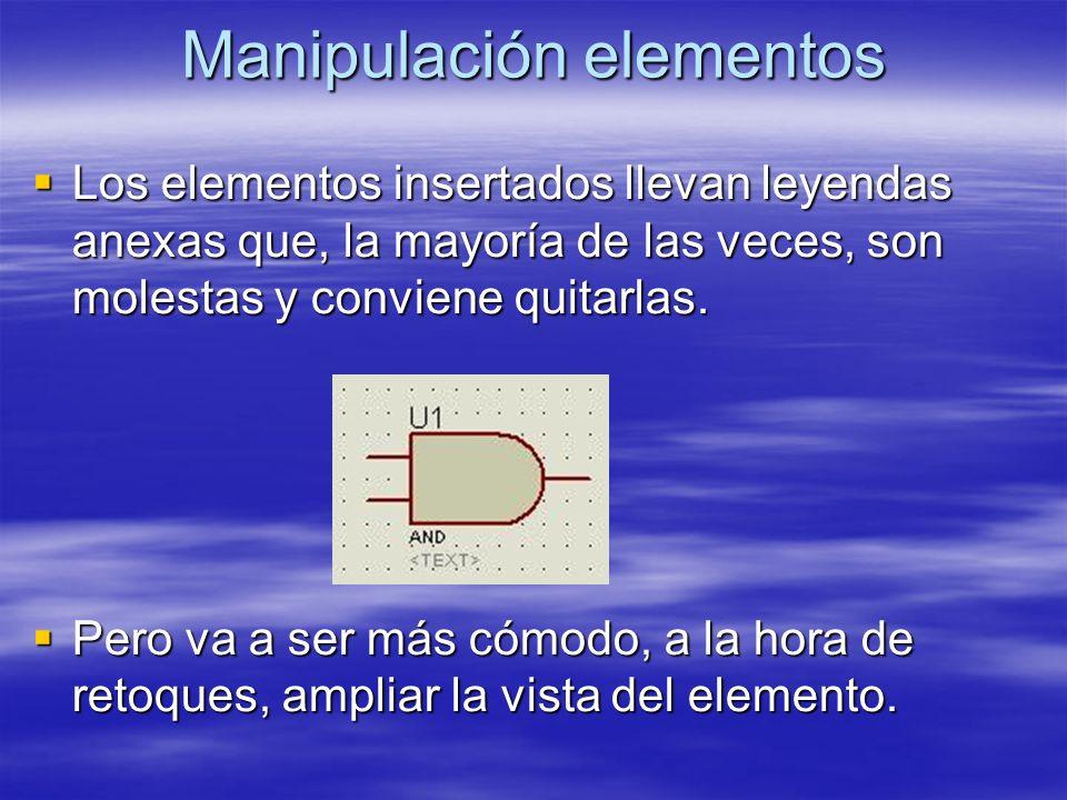 Manipulación elementos Los elementos insertados llevan leyendas anexas que, la mayoría de las veces, son molestas y conviene quitarlas. Los elementos