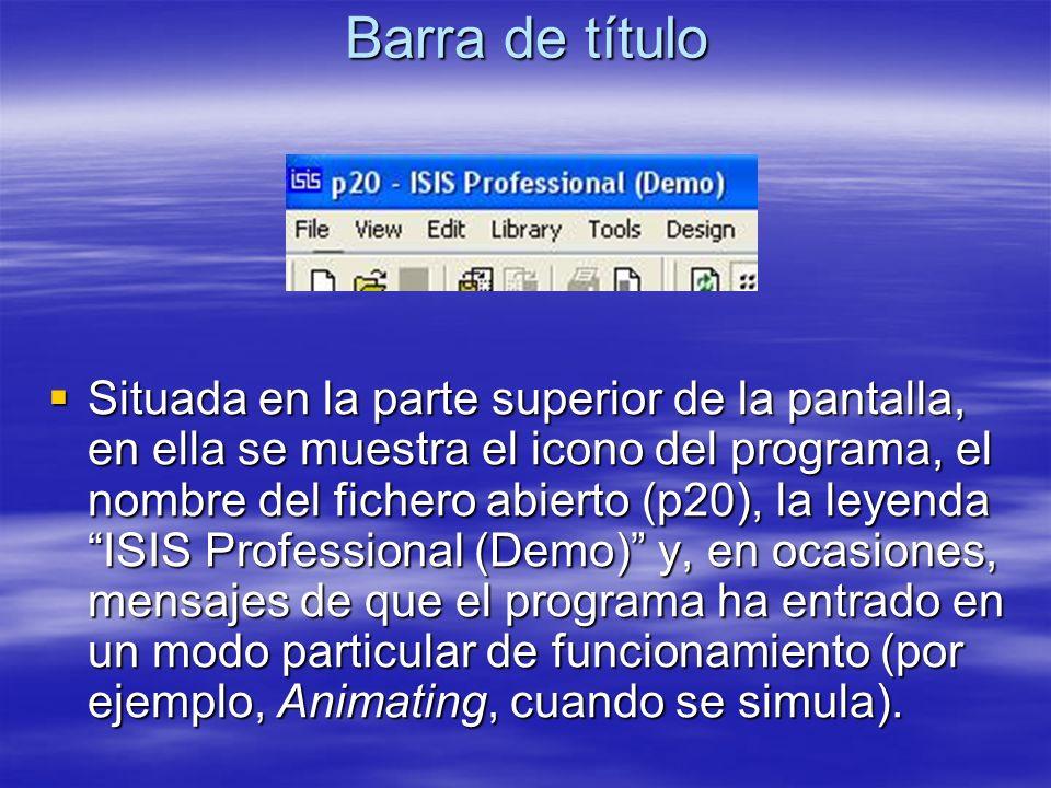 Barra de título Situada en la parte superior de la pantalla, en ella se muestra el icono del programa, el nombre del fichero abierto (p20), la leyenda
