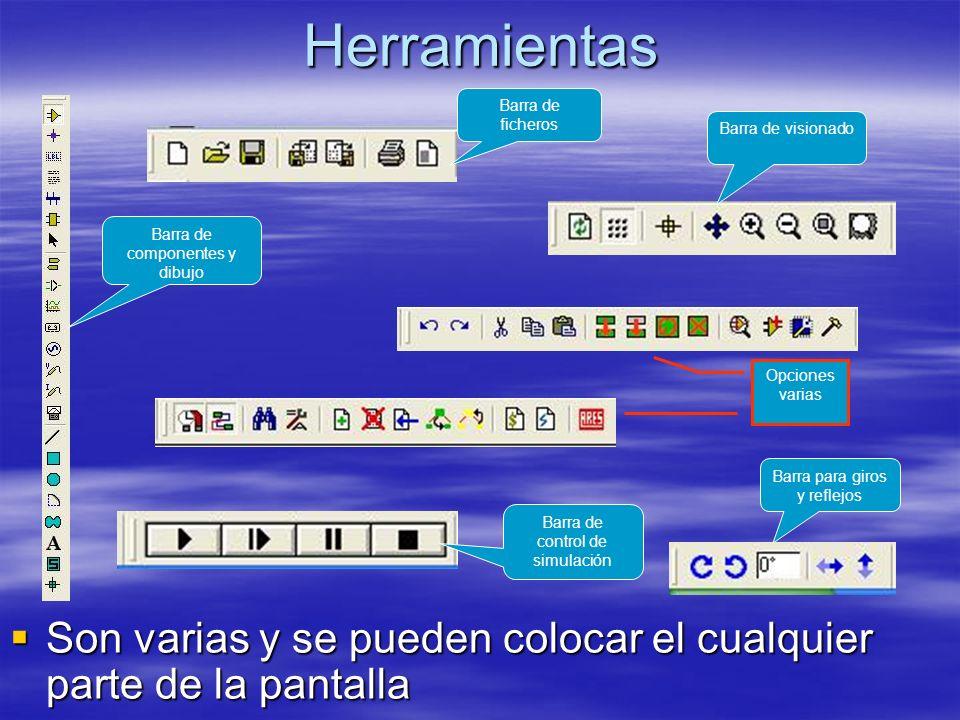 Herramientas Son varias y se pueden colocar el cualquier parte de la pantalla Son varias y se pueden colocar el cualquier parte de la pantalla Barra d