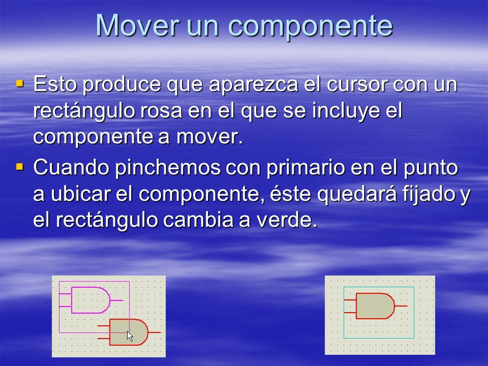 Mover un componente Esto produce que aparezca el cursor con un rectángulo rosa en el que se incluye el componente a mover. Esto produce que aparezca e