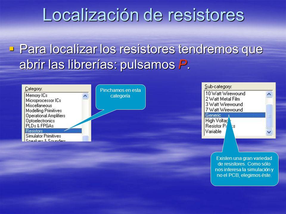 Localización de resistores Para localizar los resistores tendremos que abrir las librerías: pulsamos P. Para localizar los resistores tendremos que ab