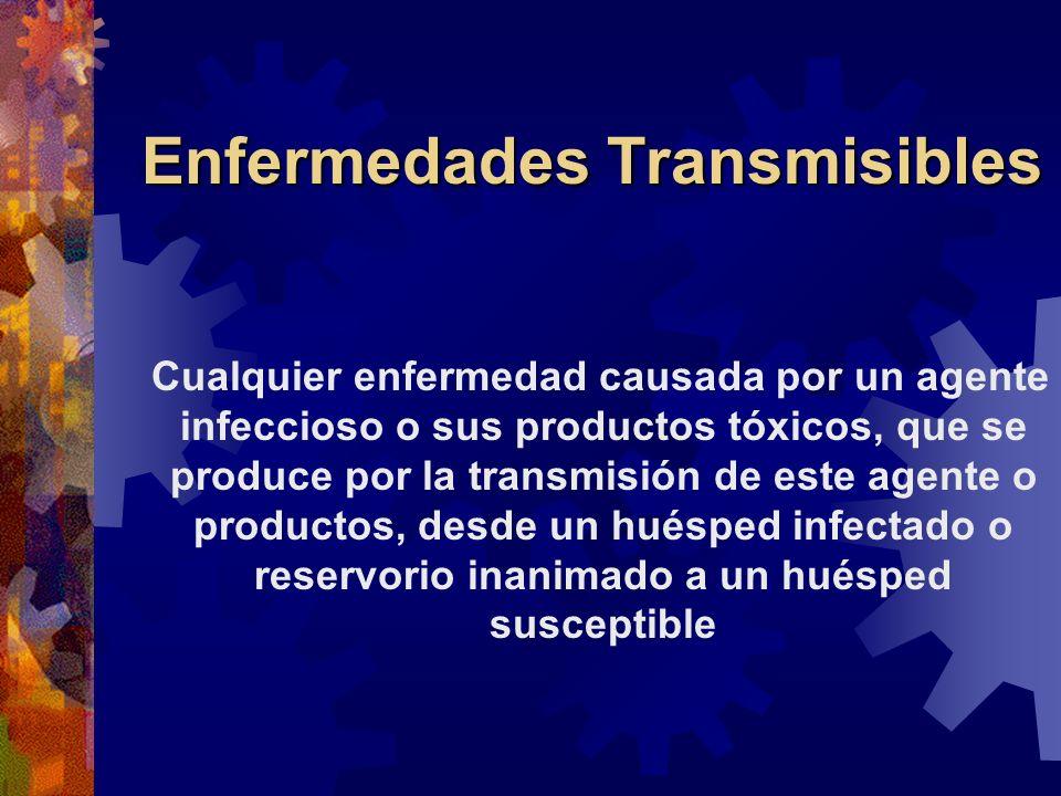 Enfermedades Transmisibles Cualquier enfermedad causada por un agente infeccioso o sus productos tóxicos, que se produce por la transmisión de este ag
