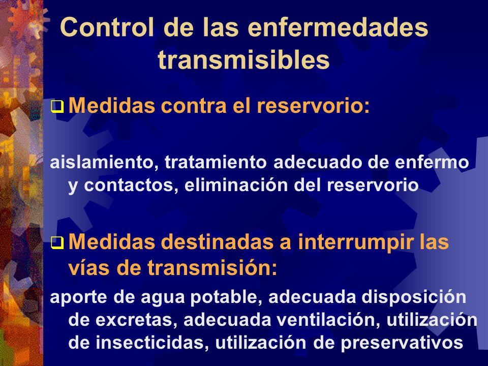 Control de las enfermedades transmisibles Medidas contra el reservorio: aislamiento, tratamiento adecuado de enfermo y contactos, eliminación del rese