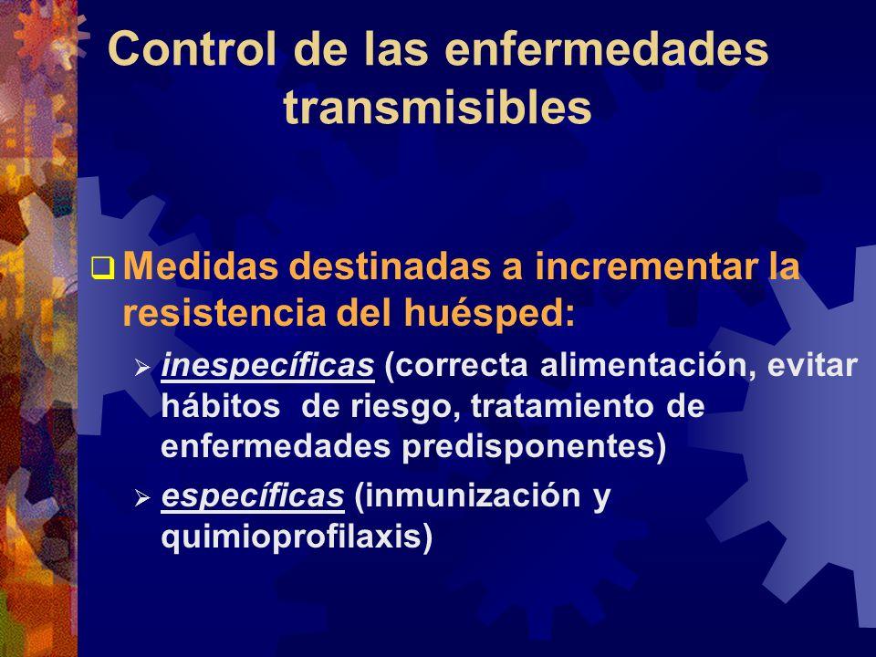 Control de las enfermedades transmisibles Medidas destinadas a incrementar la resistencia del huésped: inespecíficas (correcta alimentación, evitar há