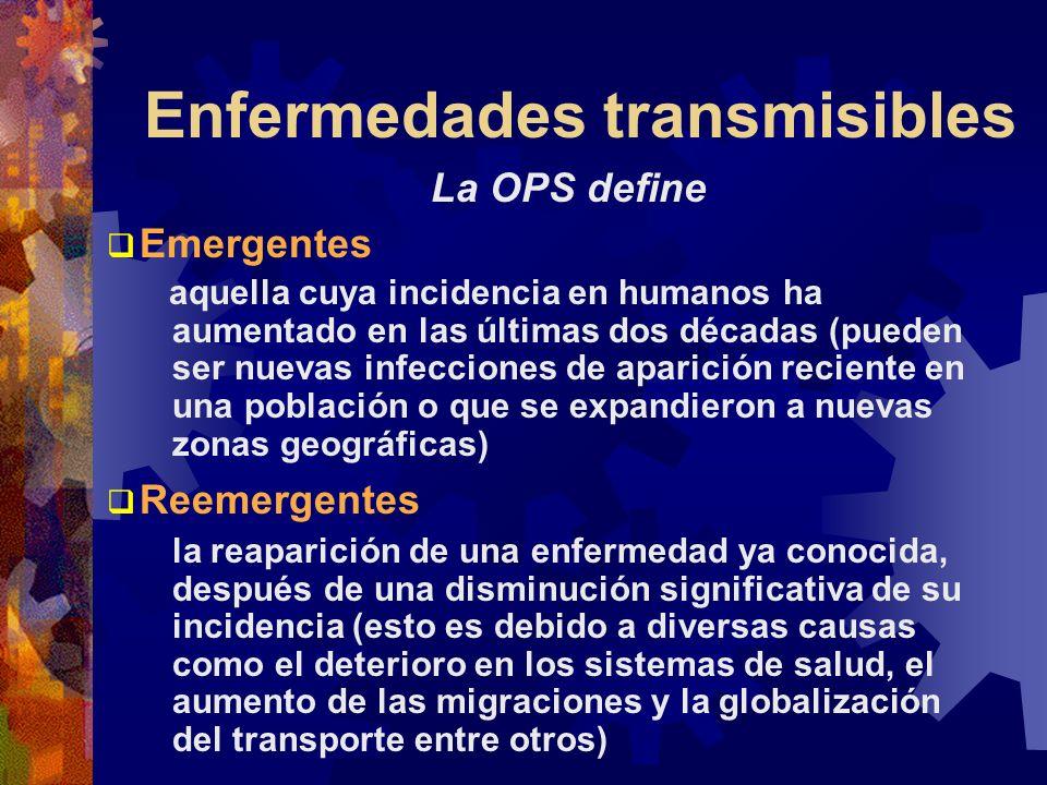 Enfermedades transmisibles La OPS define Emergentes aquella cuya incidencia en humanos ha aumentado en las últimas dos décadas (pueden ser nuevas infe