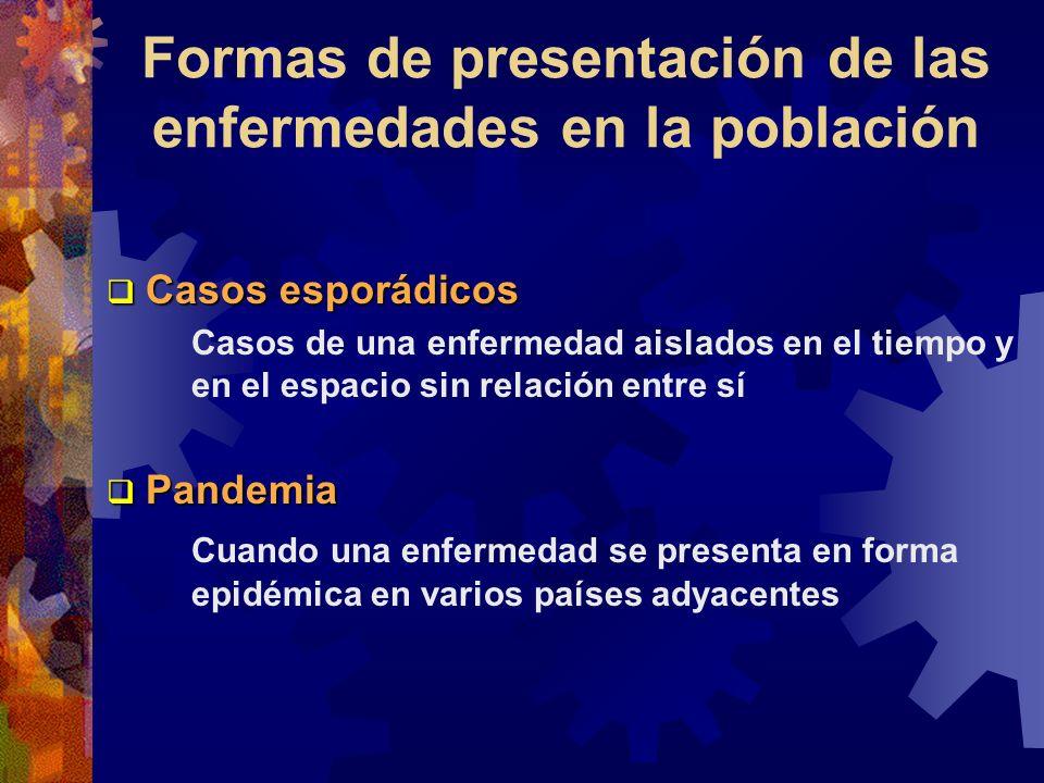 Formas de presentación de las enfermedades en la población Casos esporádicos Casos esporádicos Casos de una enfermedad aislados en el tiempo y en el e