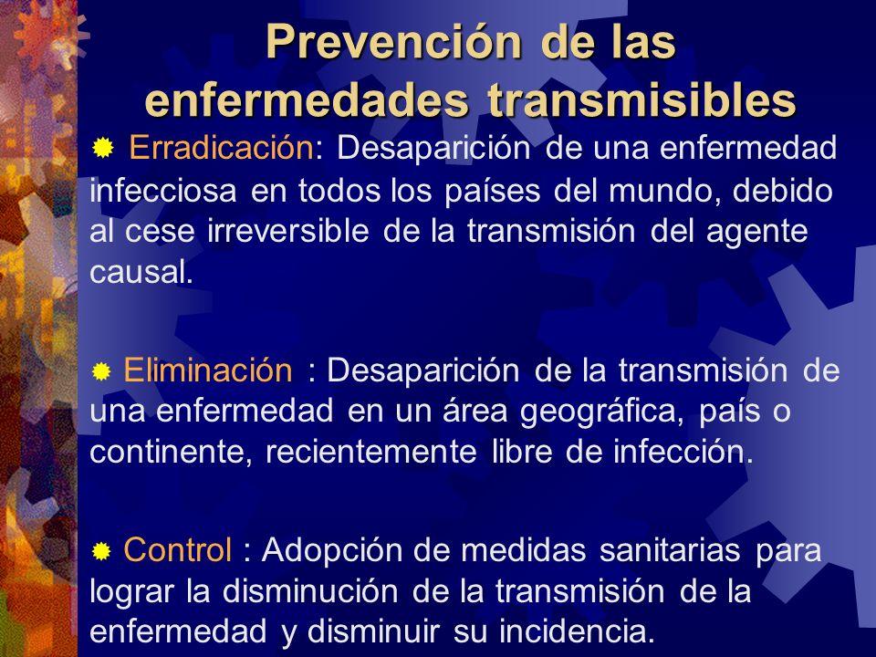 Prevención de las enfermedades transmisibles Erradicación: Desaparición de una enfermedad infecciosa en todos los países del mundo, debido al cese irr