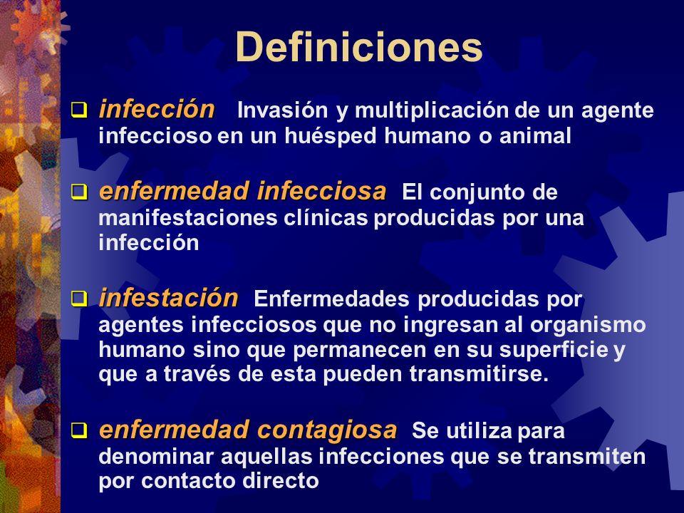 Definiciones infección infección Invasión y multiplicación de un agente infeccioso en un huésped humano o animal enfermedad infecciosa enfermedad infe