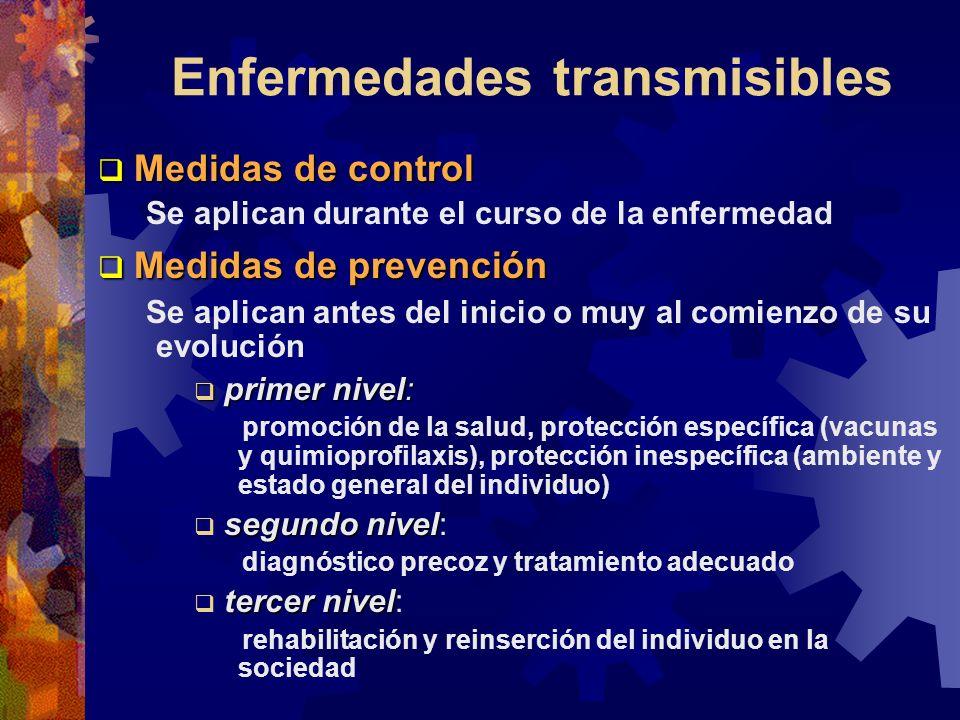 Enfermedades transmisibles Medidas de control Medidas de control Se aplican durante el curso de la enfermedad Medidas de prevención Medidas de prevenc
