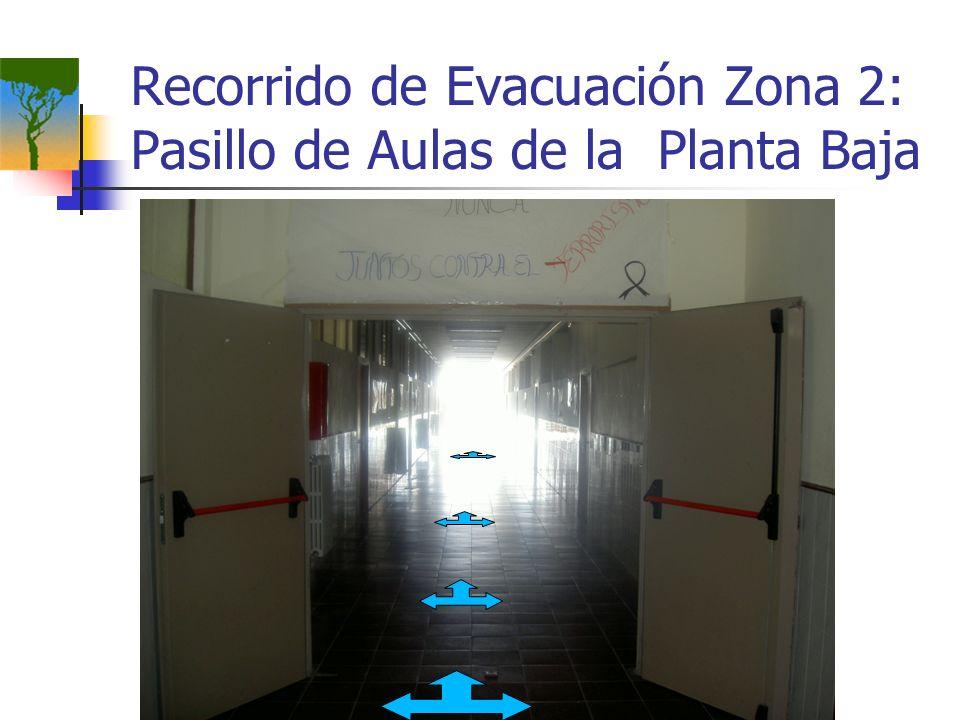 Recorrido de Evacuación Zona 2: Pasillo de Aulas de la Planta Baja