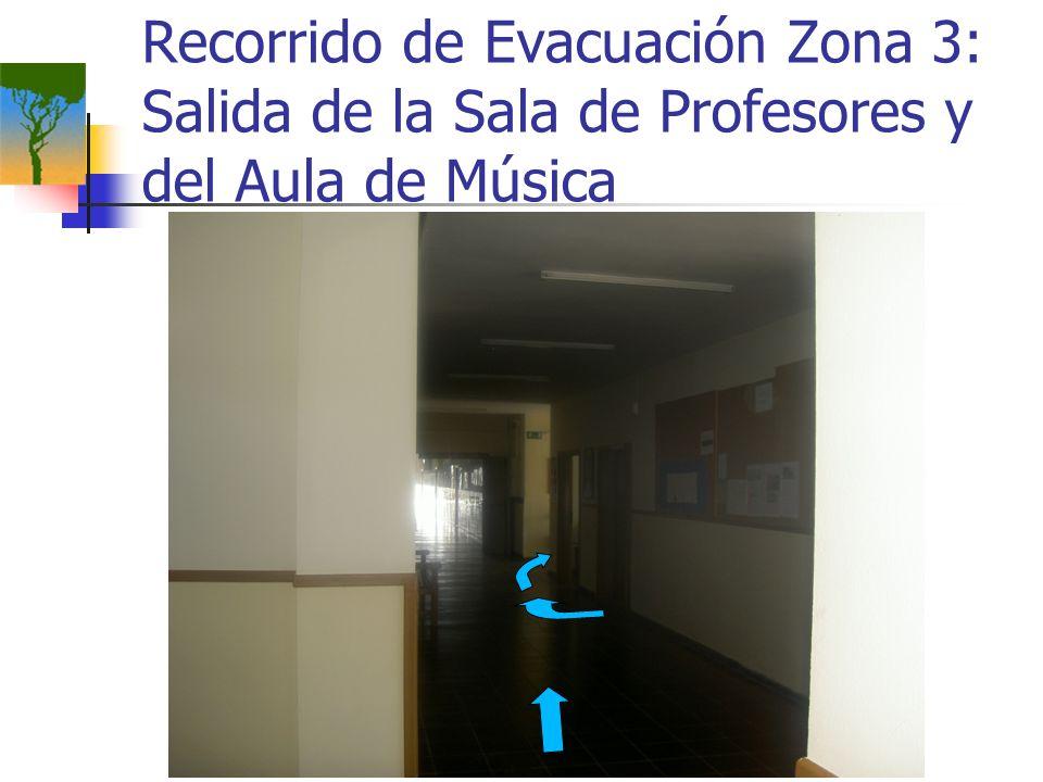 Recorrido de Evacuación Zona 3: Salida de la Sala de Profesores y del Aula de Música