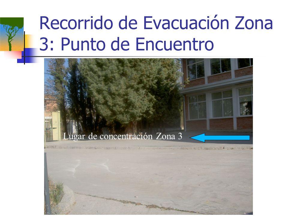 Recorrido de Evacuación Zona 3: Punto de Encuentro Lugar de concentración Zona 3