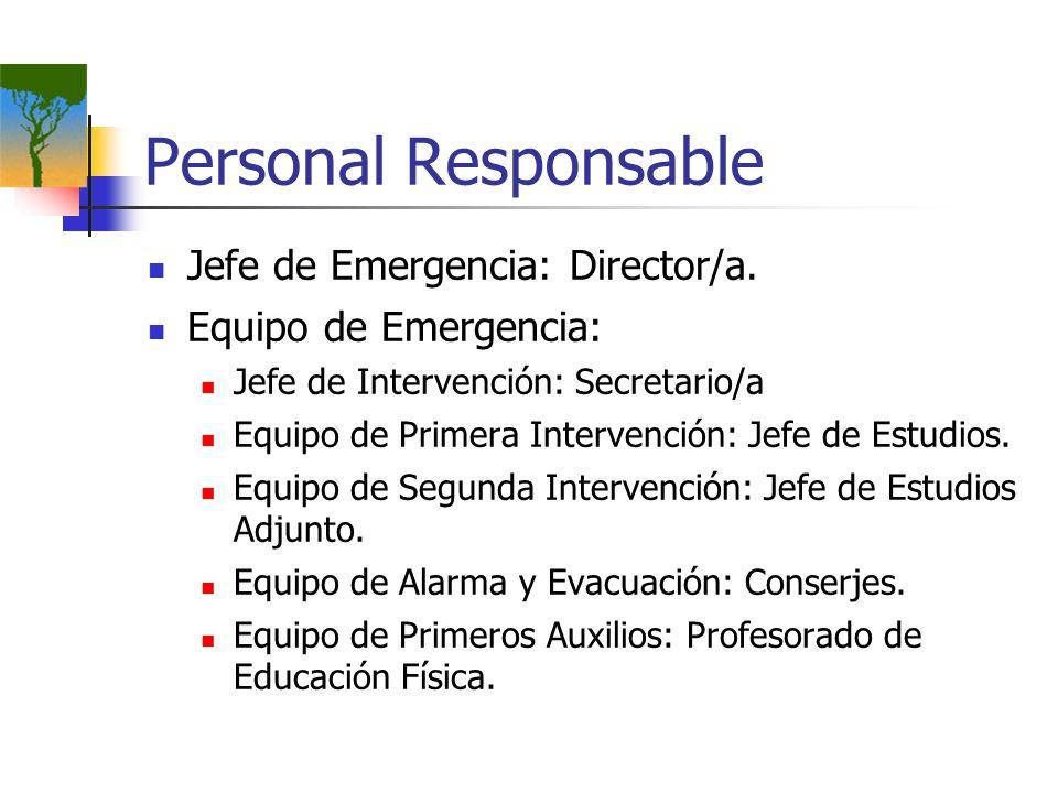 Personal Responsable Jefe de Emergencia: Director/a. Equipo de Emergencia: Jefe de Intervención: Secretario/a Equipo de Primera Intervención: Jefe de