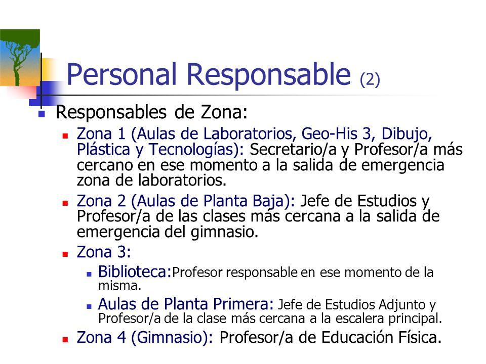 Personal Responsable (2) Responsables de Zona: Zona 1 (Aulas de Laboratorios, Geo-His 3, Dibujo, Plástica y Tecnologías): Secretario/a y Profesor/a má