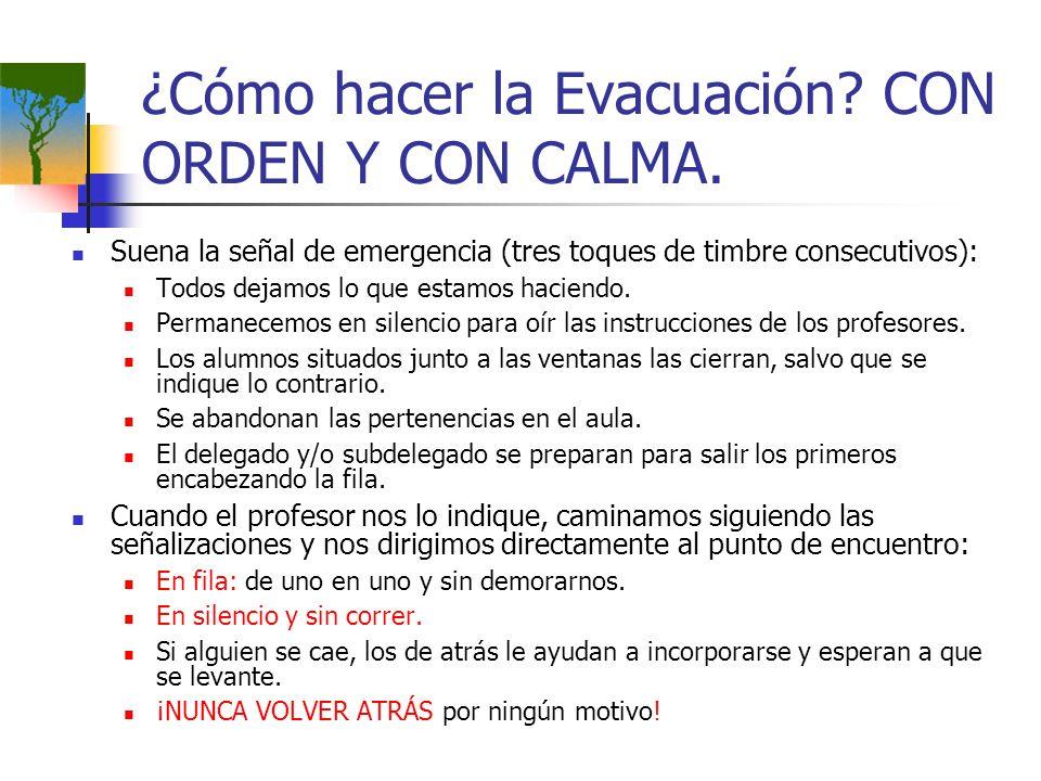 ¿Cómo hacer la Evacuación? CON ORDEN Y CON CALMA. Suena la señal de emergencia (tres toques de timbre consecutivos): Todos dejamos lo que estamos haci