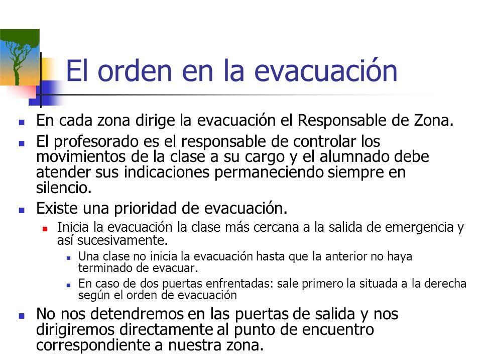 El orden en la evacuación En cada zona dirige la evacuación el Responsable de Zona. El profesorado es el responsable de controlar los movimientos de l