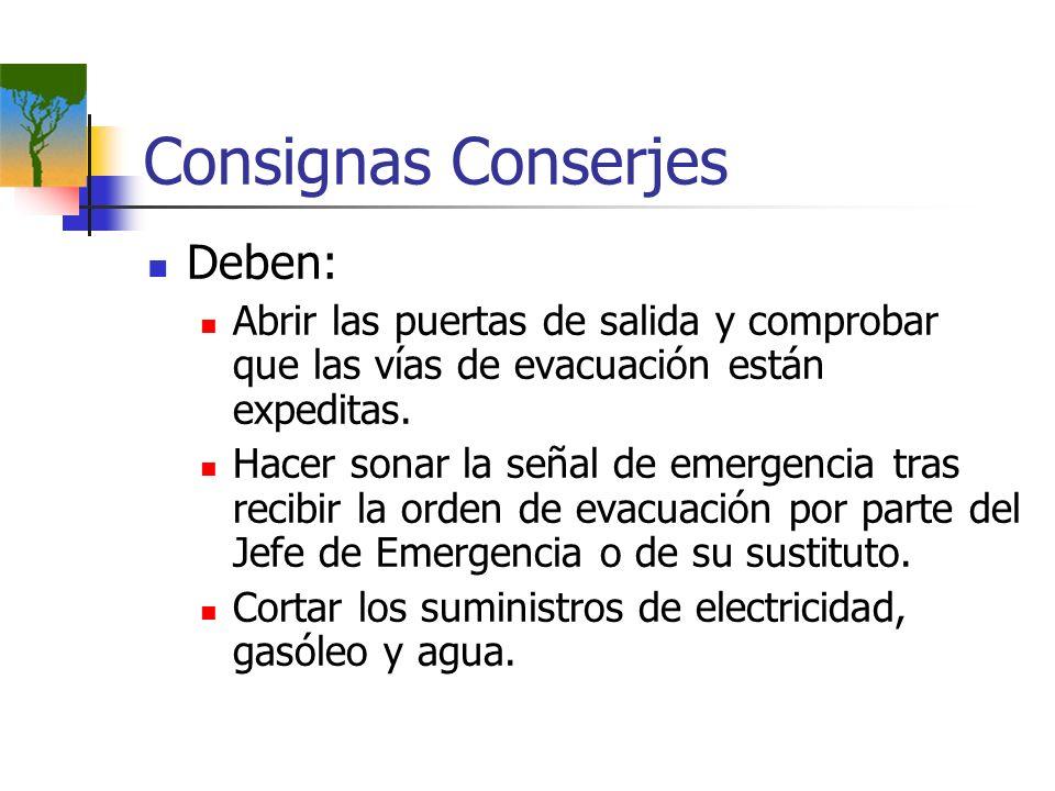 Consignas Conserjes Deben: Abrir las puertas de salida y comprobar que las vías de evacuación están expeditas. Hacer sonar la señal de emergencia tras